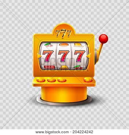 Golden slot machine wins the jackpot. Vector illustration isolated on a transparent background