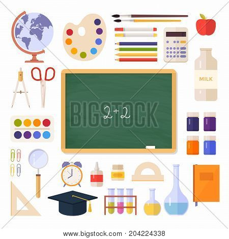 School items, supplies: schoolbook, school board, globe, paint, palette, magnifier, calculator isolated on white background. Concept education. Back to school. Vector illustration.