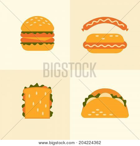 Set of icons on theme fast food. Food takeaway: burger, sandwich, hot dog, pitta. Vector illustration.