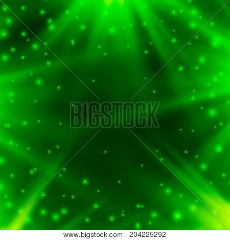 Neon background of green with rays of light. Vector illustration