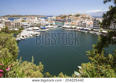 Lake-bay in Agios Nikolaos on the island of Crete. Greece