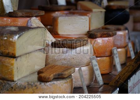 different cheese in packs and in bulk selling on market counter