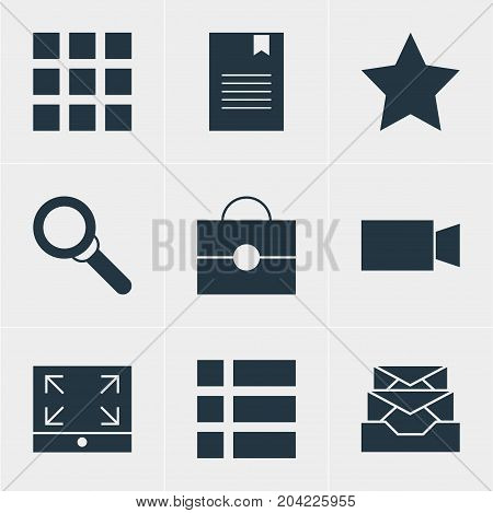 Editable Pack Of Bookmark, Bookmark, Video Camera And Other Elements.  Vector Illustration Of 9 Web Icons.