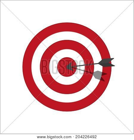 Target bullseye or arrow on target line art icon. Target with red and white circles. Classic colors. Vector illustration
