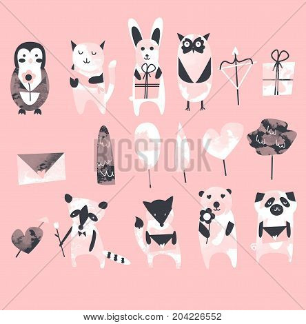 Set of cute animals for greeting card penguin, cat, rabbit, raccoon, owl, fox, pug, dog, bear in blue color for Christmas or Valentine's day postard with flower and gifts, trees