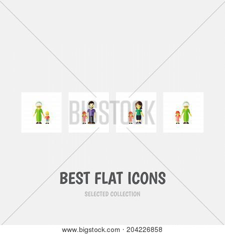 Flat Icon People Set Of Grandma, Father, Daugther Vector Objects