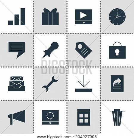 Editable Pack Of Increase Chart, Trash, Keyhole And Other Elements.  Vector Illustration Of 16 Web Icons.