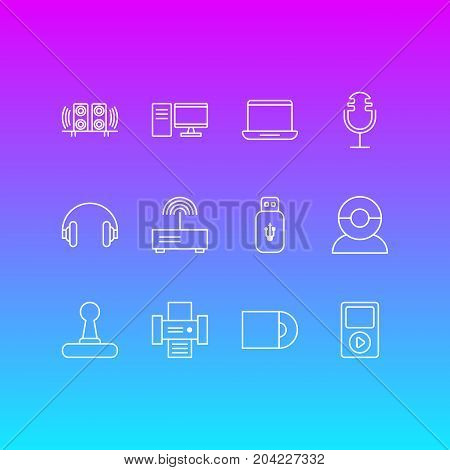Editable Pack Of Computer, Usb Card, Video Chat And Other Elements.  Vector Illustration Of 12 Gadget Icons.