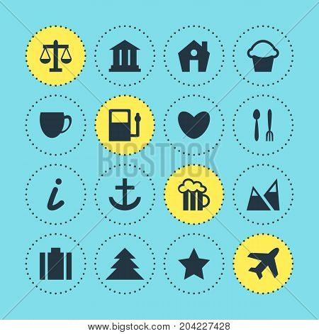 Editable Pack Of Anchor, Briefcase, Jungle And Other Elements.  Vector Illustration Of 16 Check-In Icons.