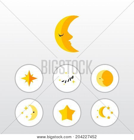 Flat Icon Night Set Of Asterisk, Bedtime, Starlet And Other Vector Objects