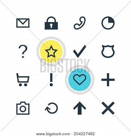 Editable Pack Of Wheelbarrow, Plus, Padlock And Other Elements.  Vector Illustration Of 16 User Icons.