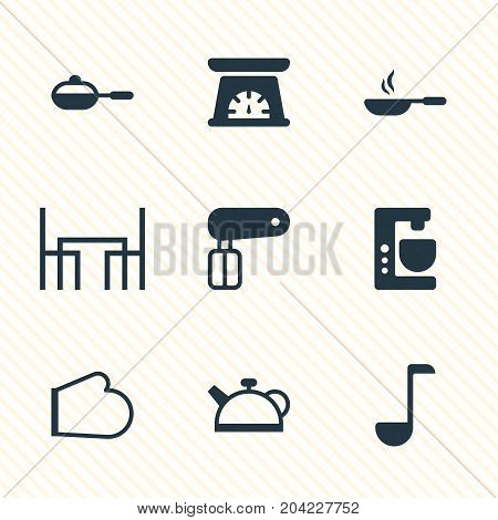 Editable Pack Of Mixer, Whisk, Measuring Tool And Other Elements.  Vector Illustration Of 9 Kitchenware Icons.