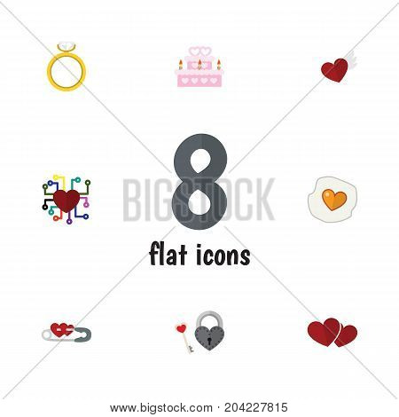 Flat Icon Amour Set Of Patisserie, Emotion, Soul And Other Vector Objects