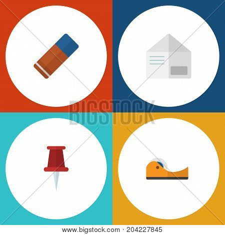 Flat Icon Equipment Set Of Rubber, Letter, Pushpin And Other Vector Objects