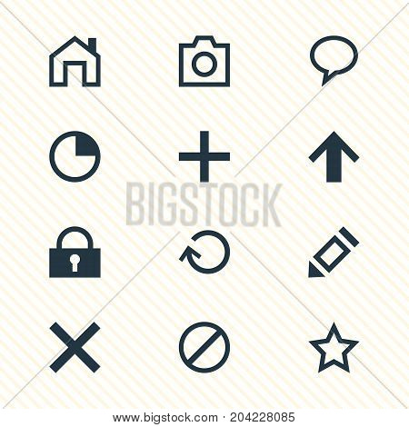 Editable Pack Of Top, Snapshot, Asterisk And Other Elements.  Vector Illustration Of 12 User Icons.