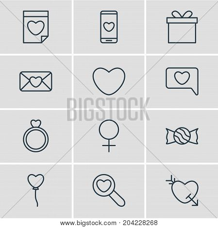 Editable Pack Of Smartphone, Valentine, Woman And Other Elements.  Vector Illustration Of 12 Amour Icons.