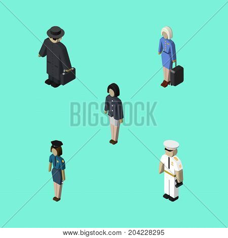 Isometric Human Set Of Hostess, Detective, Girl And Other Vector Objects