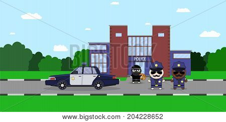 Illustration of a Policeman Chasing a Thief with Stolen Bag. police station. Sheriff s car and Cartoon 2d Collector characters