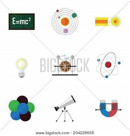 Flat Icon Science Set Of Scope, Milky Way, Theory Of Relativity And Other Vector Objects