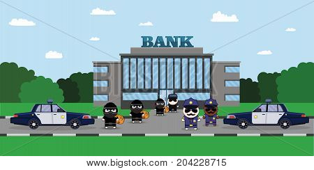 Illustration of a Policeman Chasing a Thief with Stolen Bag. Bank security officer Security Finance Service. Armored Truck, sheriff s car and Cartoon 2d Collector character