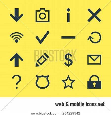 Editable Pack Of Letter, Top, Asterisk And Other Elements.  Vector Illustration Of 16 User Icons.