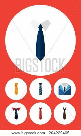 Flat Icon Clothing Set Of Cravat, Suit, Necktie And Other Vector Objects
