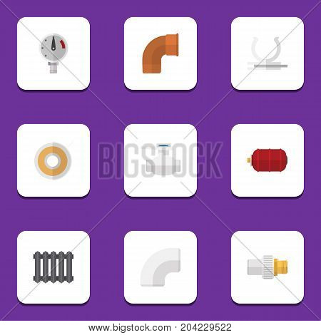Flat Icon Sanitary Set Of Heater, Pressure, Conduit And Other Vector Objects
