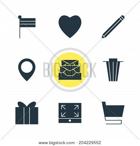 Editable Pack Of Trash, Pen, Map Pointer And Other Elements.  Vector Illustration Of 9 Web Icons.