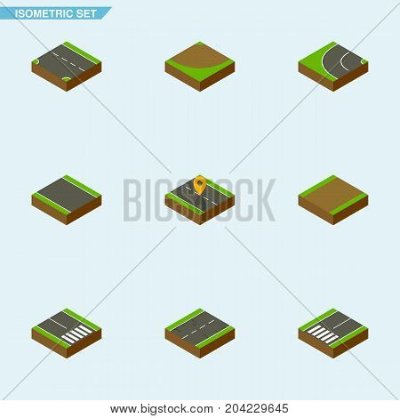 Isometric Road Set Of Cracks, Way, Navigation And Other Vector Objects