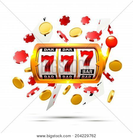 Big win slots 777 banner casino on the white background. Vector illustration