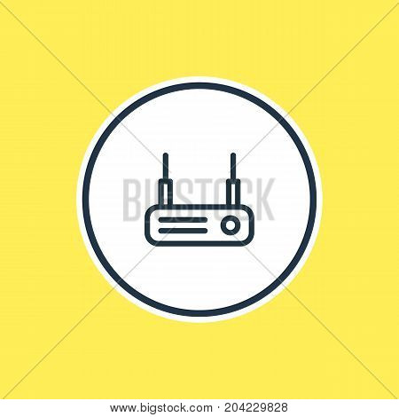 Beautiful Network Element Also Can Be Used As Modem Element.  Vector Illustration Of Router Outline.