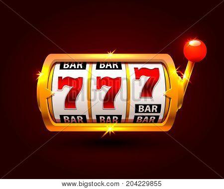 Golden slot machine wins the jackpot. isolated on black background . Vector illustration