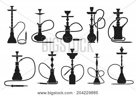 Vector hookahs set silhouettes on white isolated background