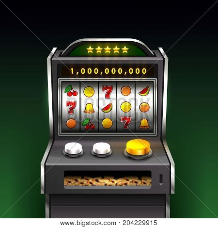 3d slots machine wins the jackpot, Isolated on green background. Vector illustration