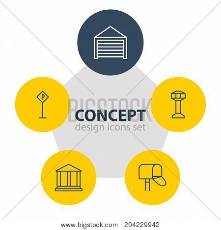 Editable Pack Of Road Sign, Mail Box, Parking And Other Elements.  Vector Illustration Of 5 City Icons.