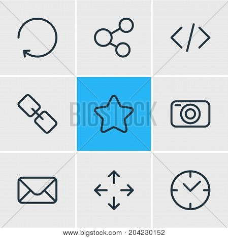Editable Pack Of Rating, Share, Clock And Other Elements.  Vector Illustration Of 9 Annex Icons.