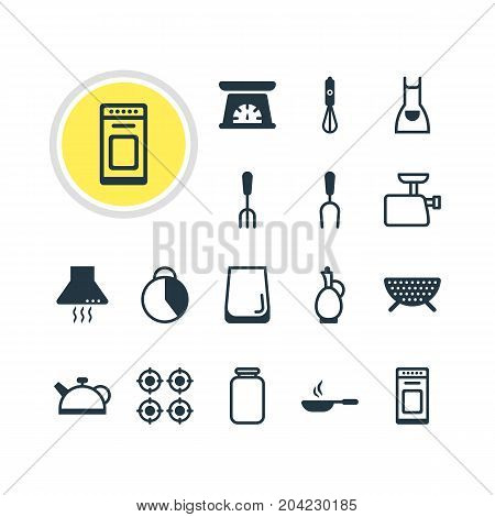 Editable Pack Of Fork, Smock, Teakettle And Other Elements.  Vector Illustration Of 16 Restaurant Icons.