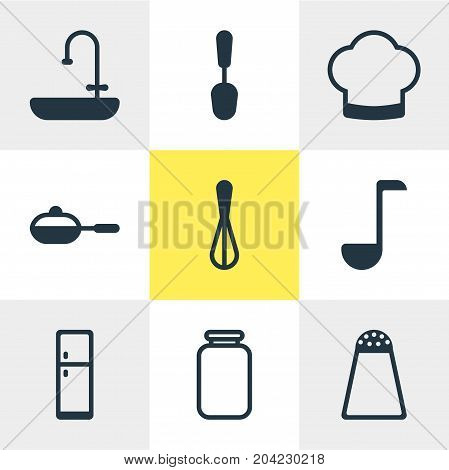 Editable Pack Of Washstand, Soup Spoon , Pepper Container Elements.  Vector Illustration Of 9 Cooking Icons.