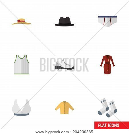 Flat Icon Garment Set Of Singlet, Panama, Sneakers And Other Vector Objects
