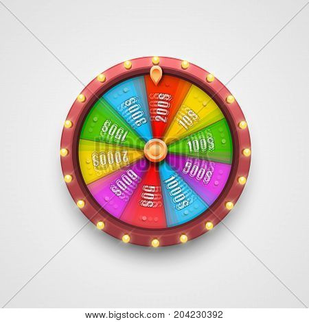 Colorful fortune wheel. isolated on white background . Vector illustration