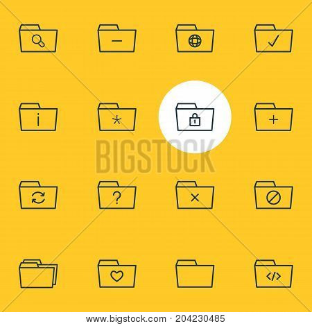 Editable Pack Of Folders, Recovery, Plus And Other Elements.  Vector Illustration Of 16 Dossier Icons.