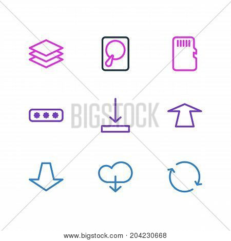 Editable Pack Of Layer, Downward, Memory And Other Elements.  Vector Illustration Of 9 Archive Icons.