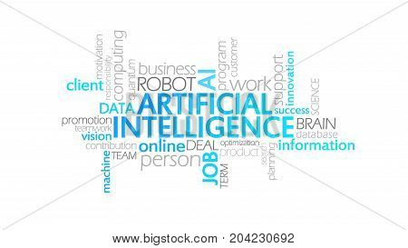Artificial Intelligence, Animated Typography, Word Cloud Concept Illustration
