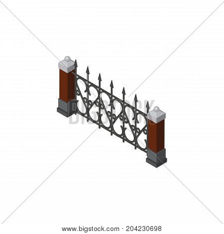 Fence Vector Element Can Be Used For Fence, Hedge, Metal Design Concept.  Isolated Metal Hedge Isometric.