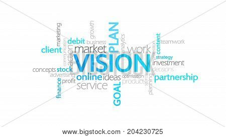 Vision, Typography Animation, Word Cloud Concept Illustration