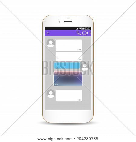 Chating and messaging concept. Messenger window. Blank template.Vector realistic smartphone with chat boxes.