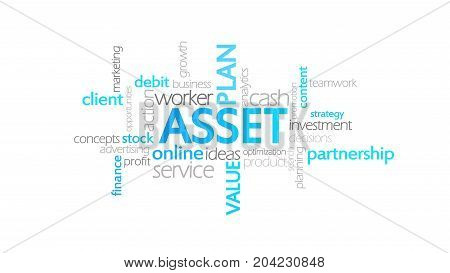 Asset Animation Typography word cloud concept illustration