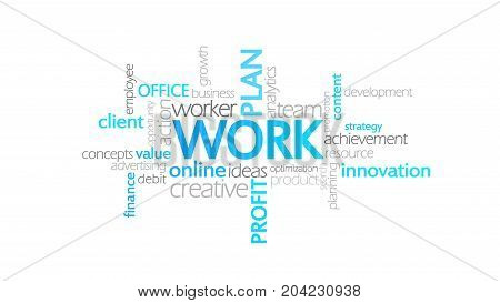 Work, Typography Animation, Word Cloud Concept Illustration
