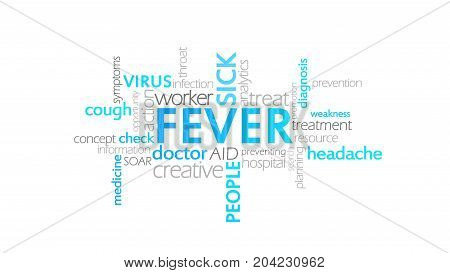 Fever, Typography Animation, Word Cloud Concept Illustration