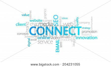 Connect, Animated Typography, Word Cloud Concept Illustration